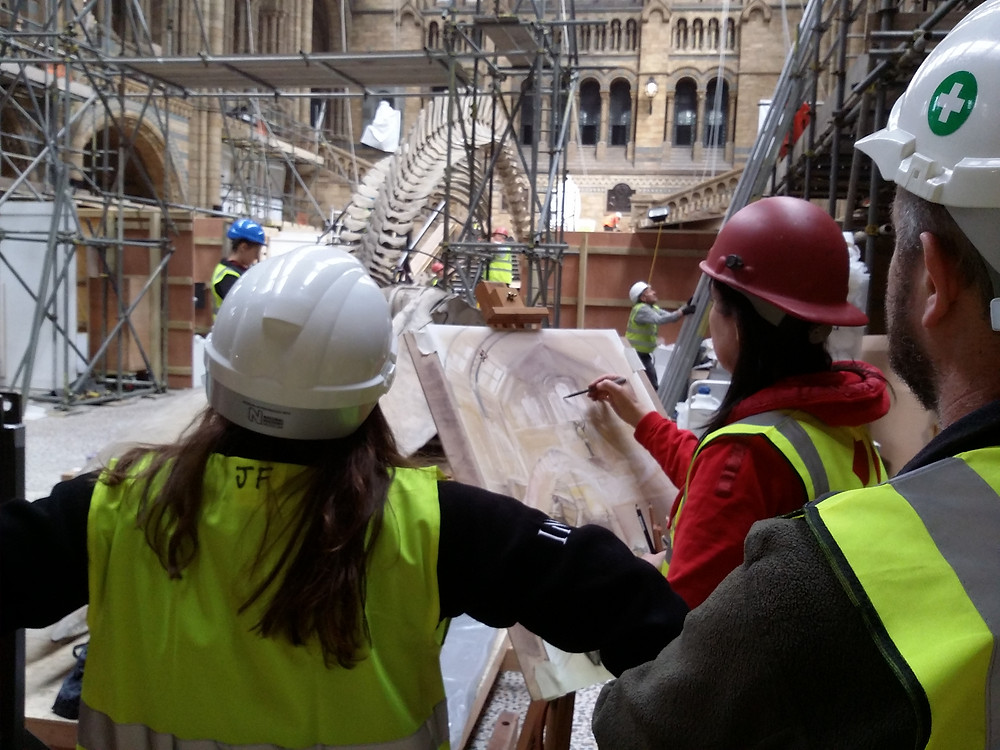 Amanda Beck Artist sketching the blue whale installation in Hintze Hall
