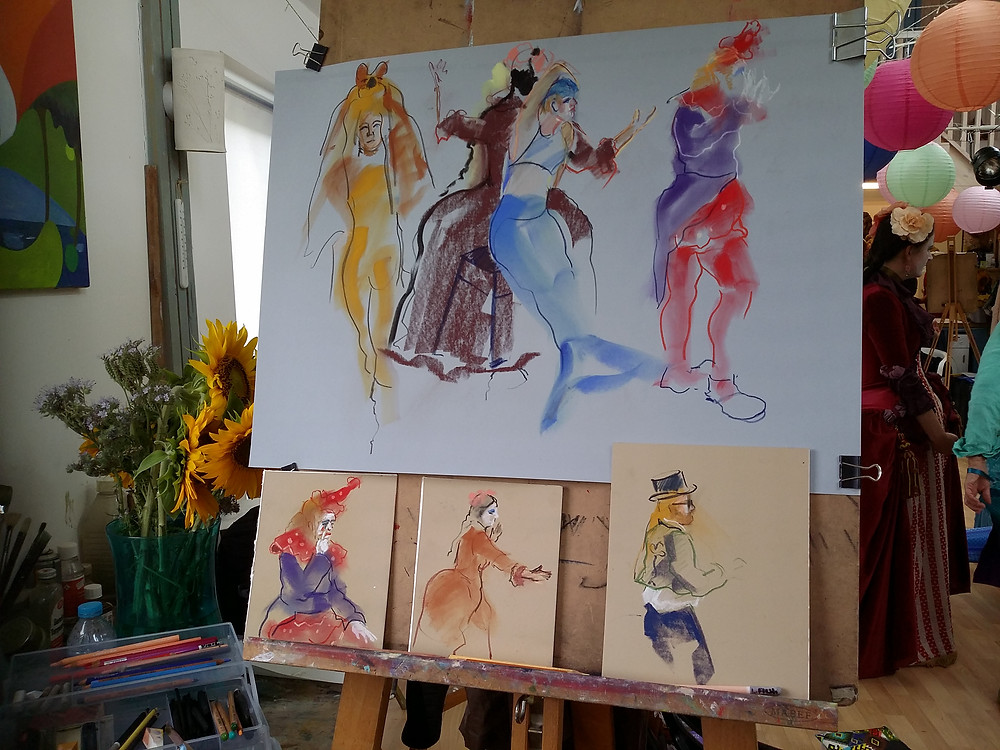 On the easel a succession of 3 minute sketches in pastels