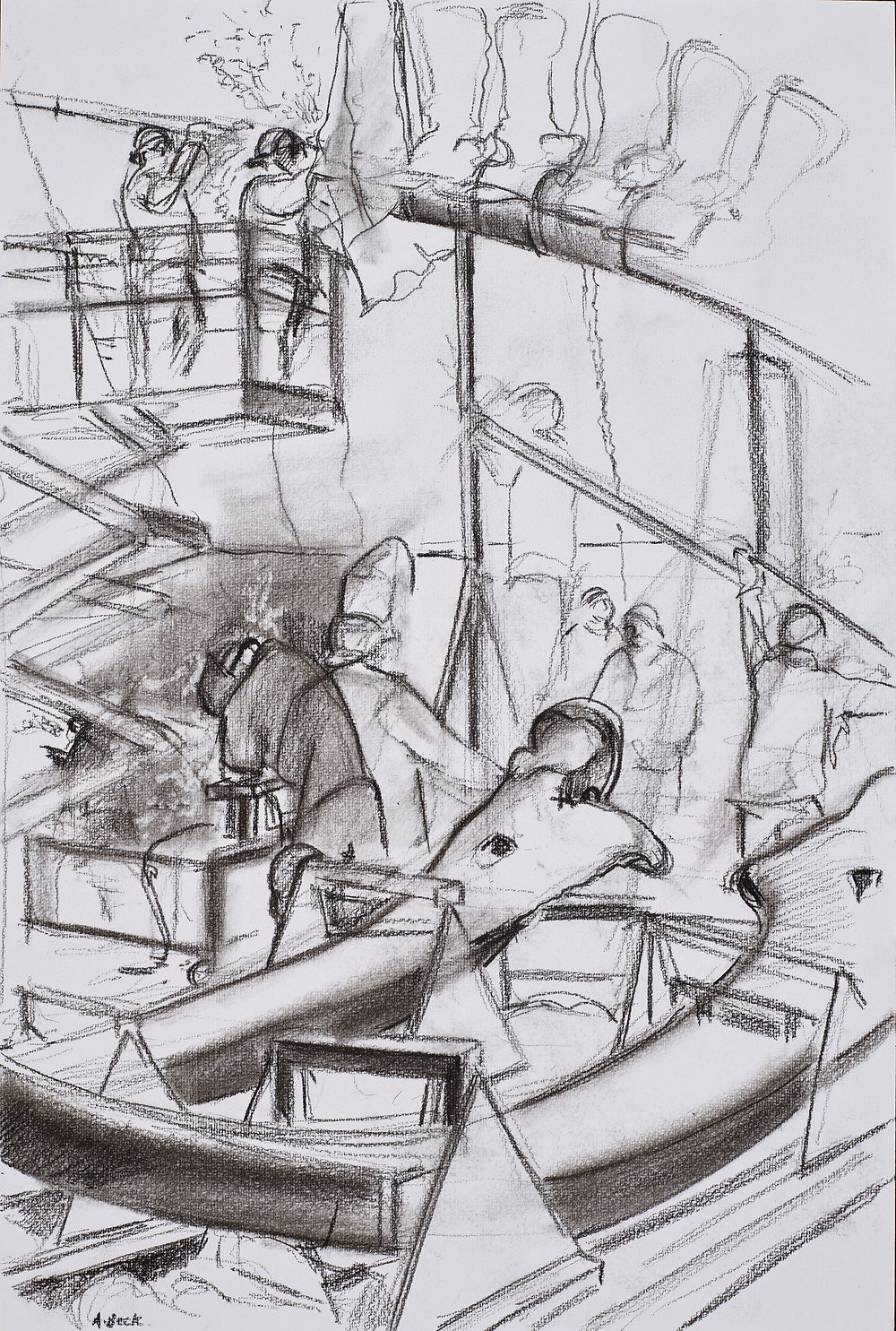 Charcoal sketch of the Skeleton Crew from RCI