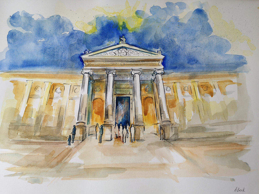 I am offering this watercolour of the Ashmolean Museum as part of the Artist Support Pledge.  Find out more by clicking in the painting.