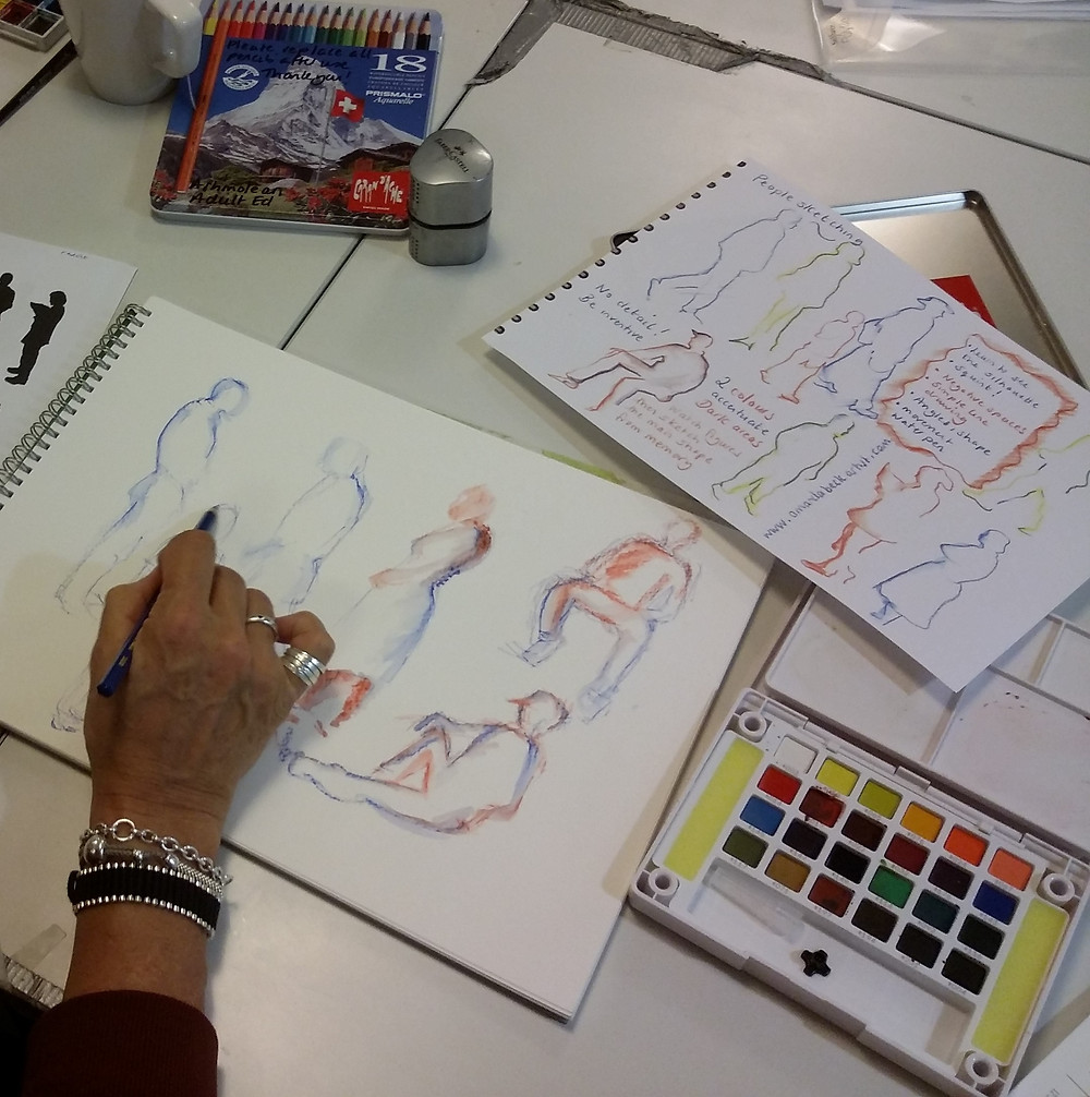 Using coloured watercolour pencils sketching gesture and shape on a course with Amanda Beck