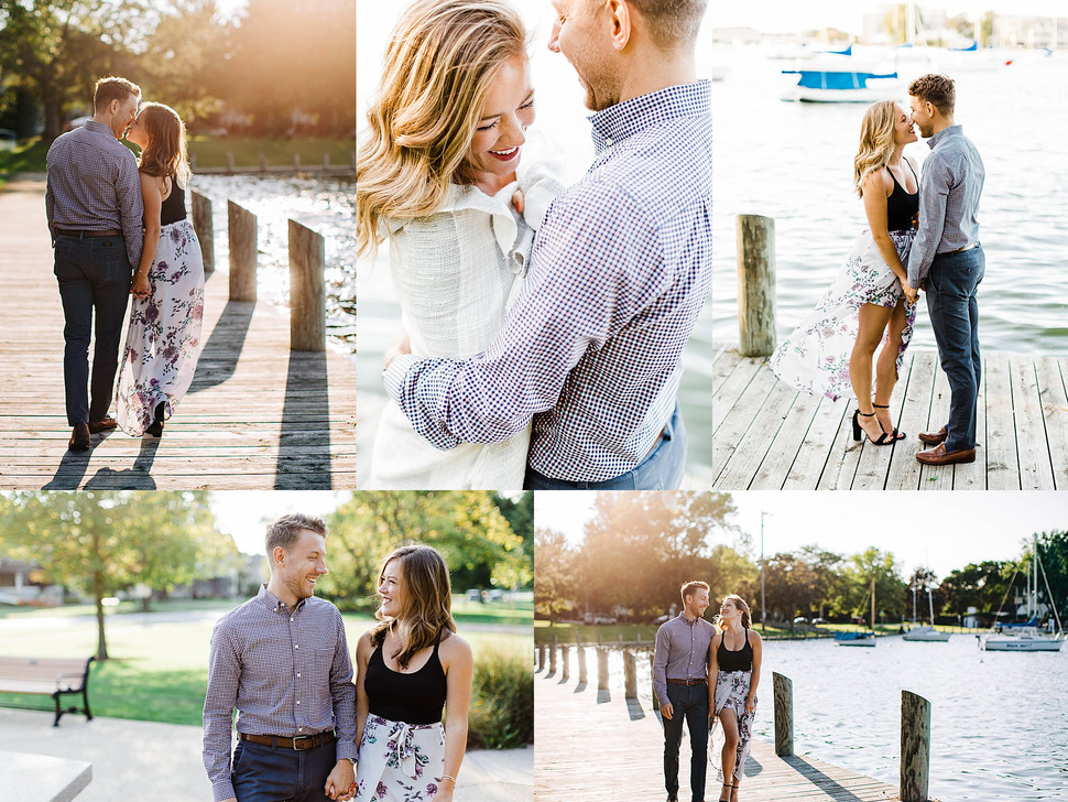 Romantic Summer Sunset Engagement Session - Neenah Photographer