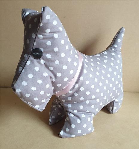 Fabric Door Stop Stopper - Scottie Dog - Polka Dot Spots