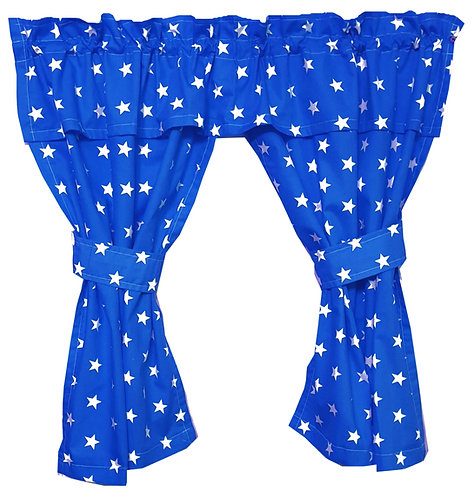 Wendy House, Playhouse Curtains - Stars Blue (Open) www.ComfyCreations.co.uk