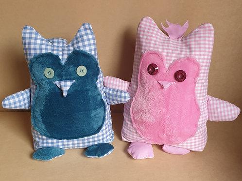 Fabric Door Stop Stopper - Funky Owl - Gingham Pink Blue
