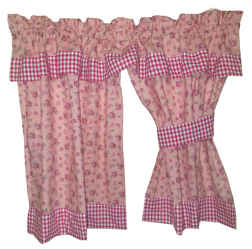 Play House Curtains - Gingham and Rose