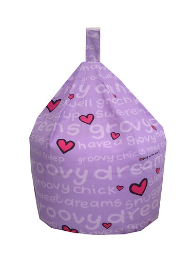 Groovy Chick Hearts Bean Bag - Lilac Purple