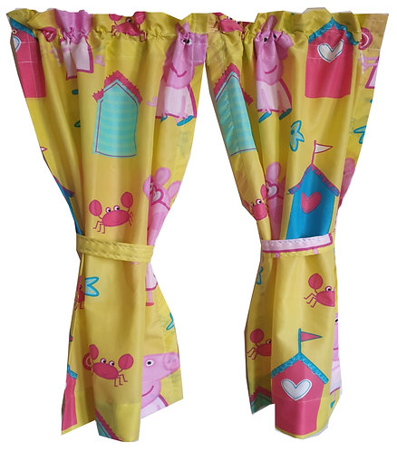 Wendy House, Playhouse Curtains - Peppa Pig Seaside Yellow (Open)