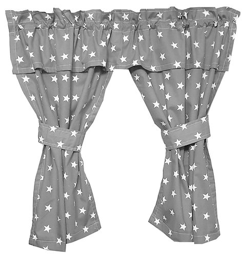 Wendy House, Playhouse Curtains - Stars Grey (Open) www.ComfyCreations.co.uk