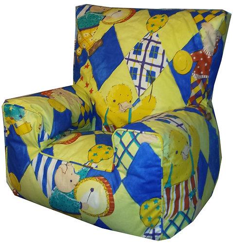 Nursery Bean Bag Chair Kids Yellow Rabbit, Duck, Pig (Side View)