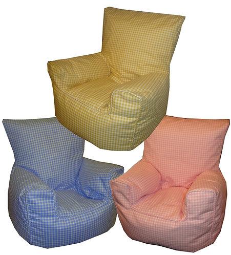 Gingham Check Bean Bag Chair Children's Kids