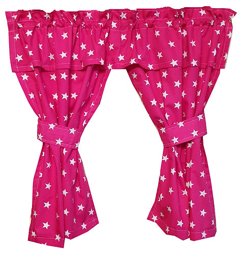 Wendy House, Playhouse Curtains - Stars Pink (Open) www.ComfyCreations.co.uk