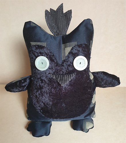 Handmade Fabric Door Stop Stopper - Funky Owl - Black