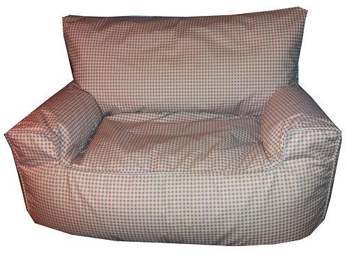 Gingham Check Bean Bag Sofa Brown