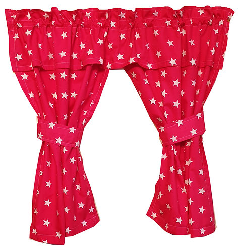 Wendy House, Playhouse Curtains - Stars Red (Open) www.ComfyCreations.co.uk
