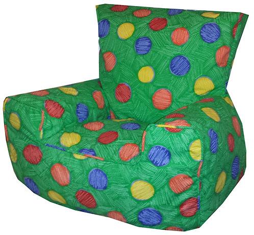 Green Multi Colour Dots Children's Bean Bag Chair Large Spots