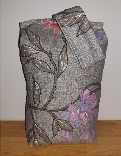 Floral Fabric Door Stop Stopper Grey