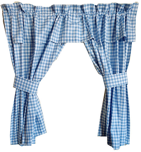 Custom Made Window Curtain (Kitchen, Living Room, Bedroom) - Gingham Check Baby Blue (Open)