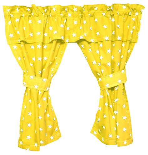 Play House Curtains - Stars Yellow (Open) www.ComfyCreations.co.uk