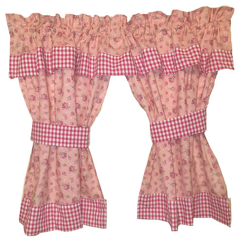 Wendy House, Playhouse Curtains - Gingham and Rose (Pink)