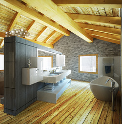 Vue espace côté salle de bain
