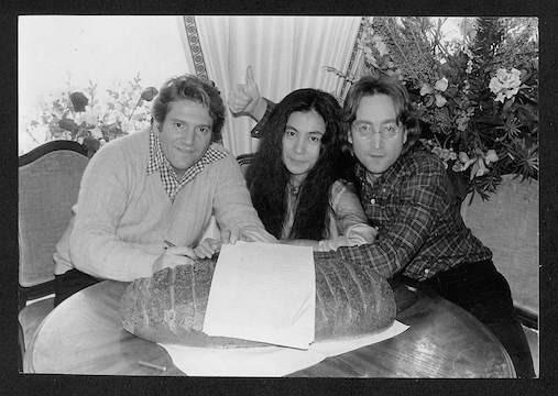 John Lennon, Yoko Ono &Allen Klein Breaking the Bread Plaza Hotel NYC, 1977