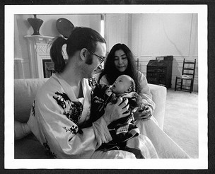 John Lennon, Yoko Ono &Sean Lennon In White Room Dakota Building. NYC, 1975