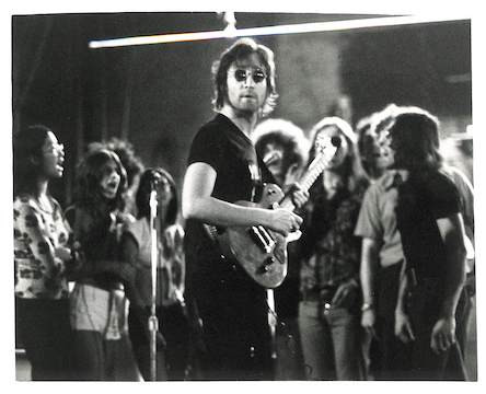 John in HOME Shirt & Yoko Rehearsals for Concert at Butterfly Studio, West Tenth Street, NYC Summer 1972
