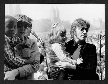 John Lennon and Harry Nilsson  at the March of Dimes walk Central Park, NYC.1972