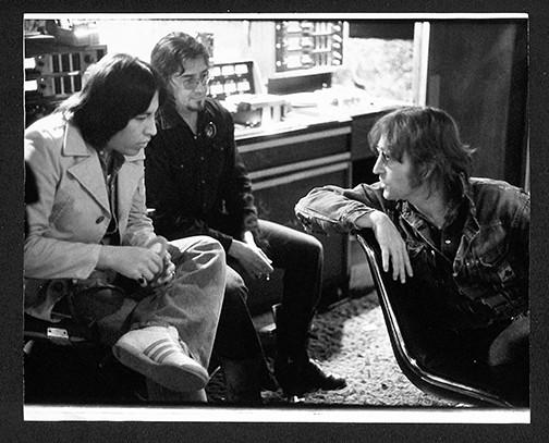 (L-R) Jesse Ed Davis, Jim Keltner and John Lennon Record Plant, NYC 1974