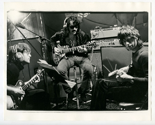 "(L-R) John Lennon, Wayne ""Tex"" Gabriel of Elephants Memory and Mick Jagger Record Plant, NYC 1972"