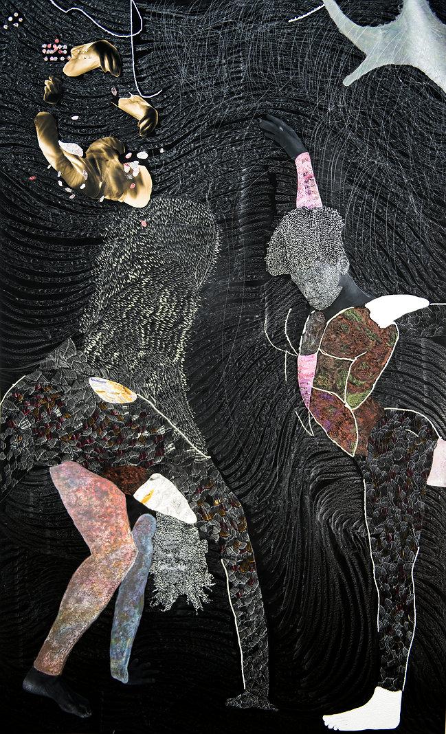 Nate Lewis, Clandestine rhythms took flight, Hand sculpted inkjet print, ink, graphite, fr