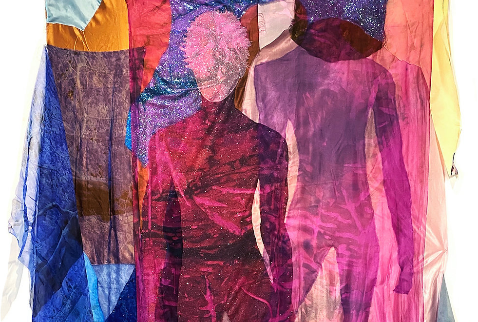 Ambrose, Shadowman, 2020, Sequins, found clothing, overlain with hand-dyed silk organza, a