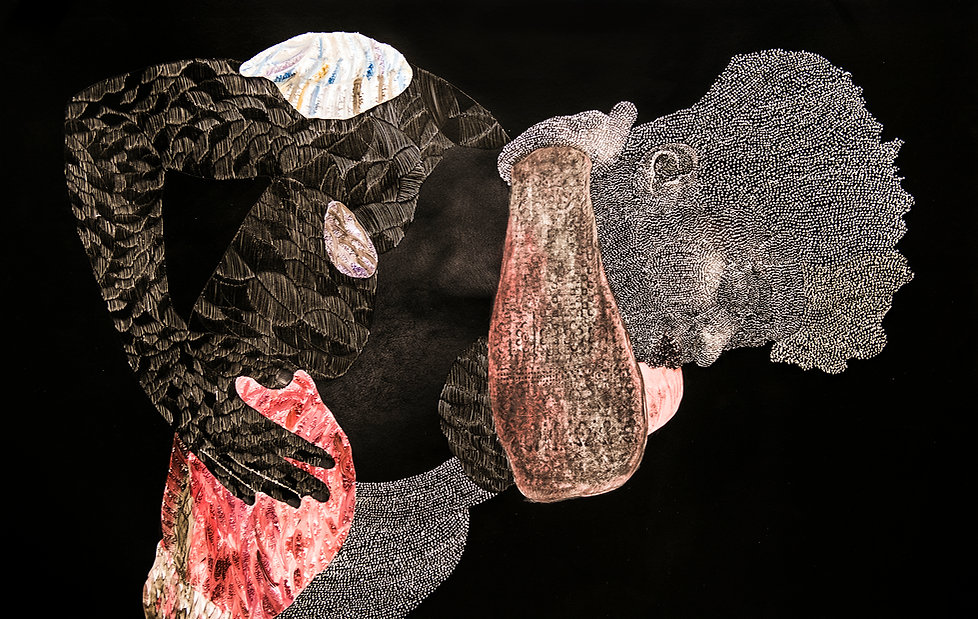Nate Lewis, Signaling XLV, Hand sculpted inkjet print, ink, graphite, frottage, 26h x 40w