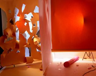 Torn Orange Over Blue and Under Orange
