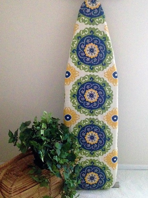 Navy Green Gold Medallion ironing board cover