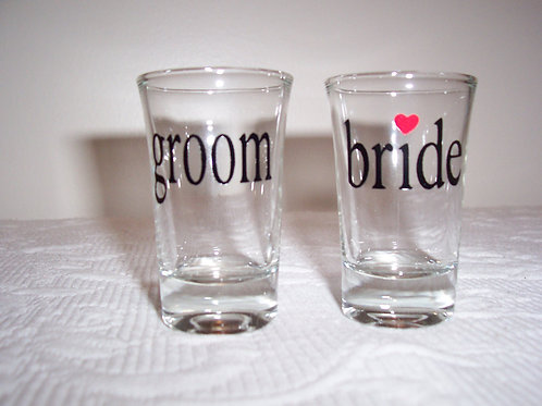 Bride and Groom Shot Glass SET