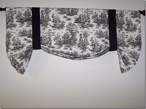 Black Toile Tie Up Custom Valance