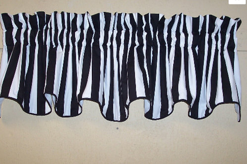 Black White Canopy Stripe Cambridge Valance