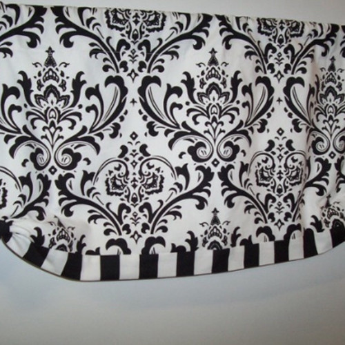 black white traditions and stripe button up valance