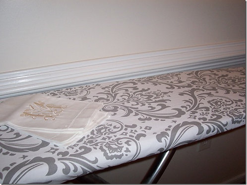 Storm Gray and White Traditions Damask Ironing Board Cover