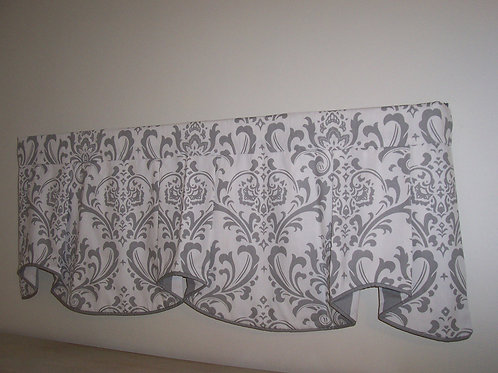 Custom Valance Grey and White Traditions