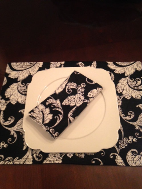Black and Cream Damask Linen Placemats