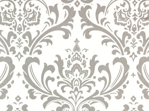 Storm Gray and White Traditions Damask Custom Shower Curtain