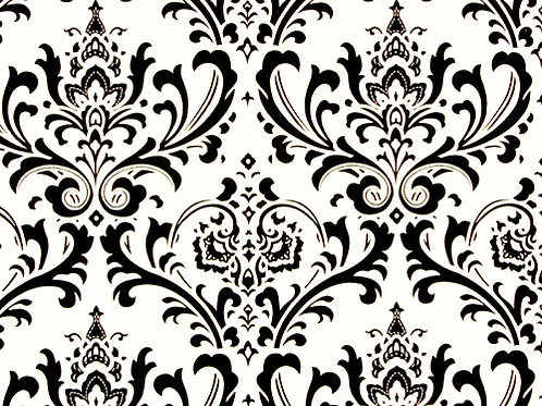 Black and White Traditions Damask Custom Shower Curtain