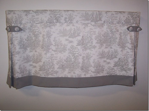 Gray White Toile Boxpleat Valance with Side Tabs