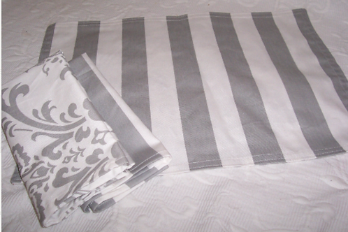 Gray and White Classic Canopy Stripe Placemats