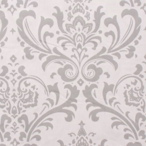 Traditions Gray and White Damask Draperies