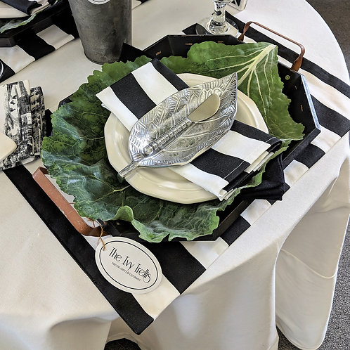 Black White Classic Canopy Stripe Placemats
