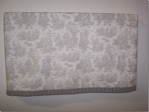 Gray White Toile with Pleated Banding